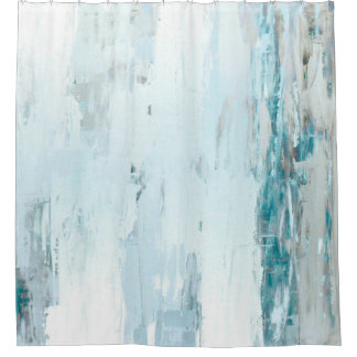 'Rain Drops' Teal and Beige Abstract Art Shower Curtain