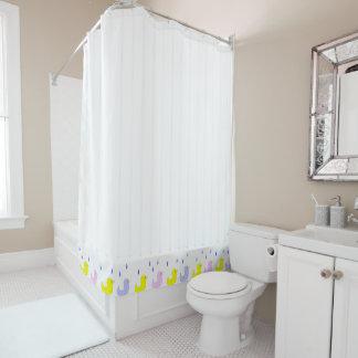 Rain Ducks White Stripe Shower Curtain