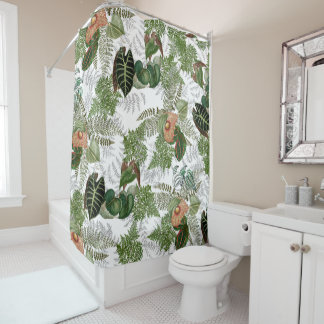 Rain Forest Leaves Ferns Flowers Shower Curtain