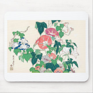 Rain frog in morning glory and Katsushika north 斎, Mouse Pad