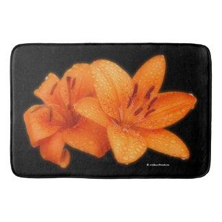 Rain-Kissed Orange Asiatic Tiger Lilies Bath Mat