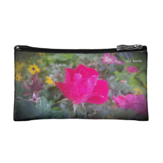 rain kissed rose cosmetic bag