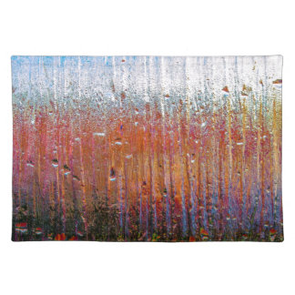 rain on colorful glass placemat