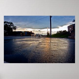 Rain Street Scene Poster