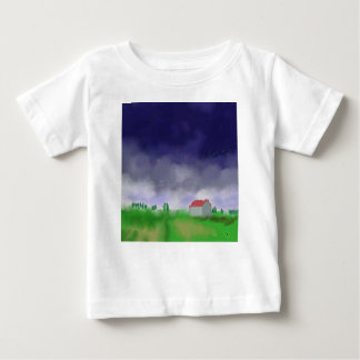 Rain with Barn Art Baby T-Shirt
