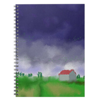 Rain with Barn Art Spiral Notebook