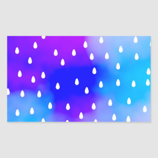 Rain with blue and purple cloudy sky. rectangular sticker