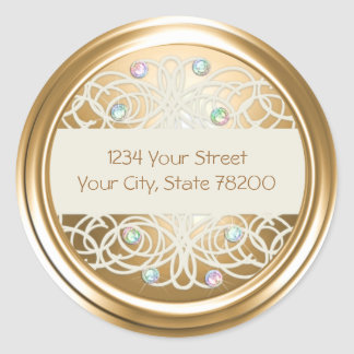 Rainbo Crystal and Gold Damask Return Address Seal Round Stickers
