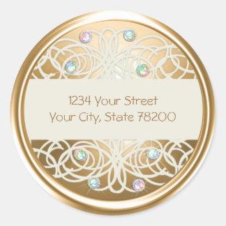 Rainbo Crystal and Gold Damask Return Address Seal Round Sticker
