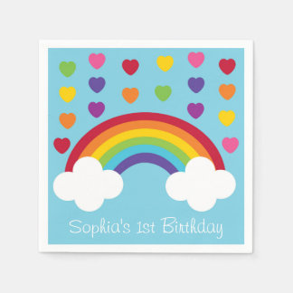 Rainbow 1st Birthday Disposable Serviettes