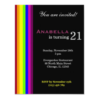 Rainbow 21st Birthday Card