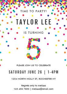 Rainbow 5 Year Old Birthday Party 5th Invitation