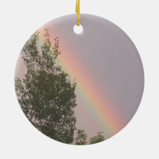 Rainbow Above a Cedar Tree Round Ceramic Decoration