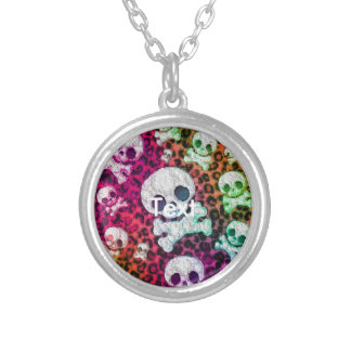 Rainbow Abstract Cute Skulls Silver Plated Necklace