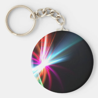 Rainbow Abstract Fractal Basic Round Button Key Ring
