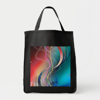 Rainbow Abstract Halftone Design Grocery Tote Bag