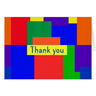 Rainbow Abstract Patchwork Thank You Card