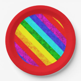 Rainbow abstract pattern paper plate