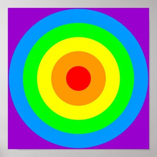 Rainbow Acid Circles Poster