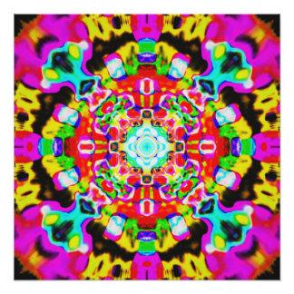 Rainbow Acid Gem Mandala Poster