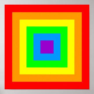 Rainbow Acid Squares Poster