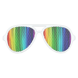 Rainbow Adult Aviator Party Shades, White Aviator Sunglasses