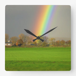 Rainbow after that storm clock! square wall clock