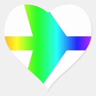 Rainbow Airplane 2 Heart Sticker