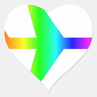 Rainbow Airplane Heart Sticker