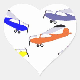 Rainbow Airplanes Heart Sticker
