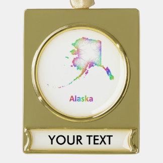 Rainbow Alaska map Gold Plated Banner Ornament