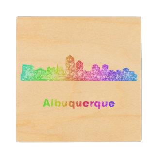 Rainbow Albuquerque skyline Maple Wood Coaster