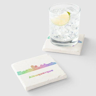 Rainbow Albuquerque skyline Stone Beverage Coaster