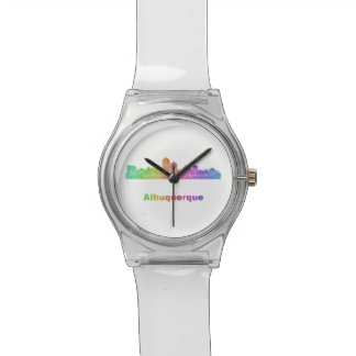 Rainbow Albuquerque skyline Wrist Watch