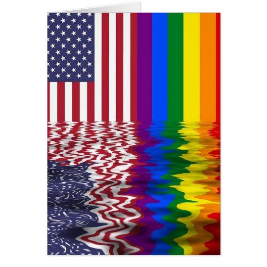 Rainbow American Flag LGBT Support Card