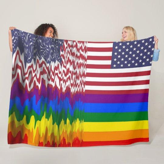 Rainbow American Flag LGBT Support Fleece Blanket