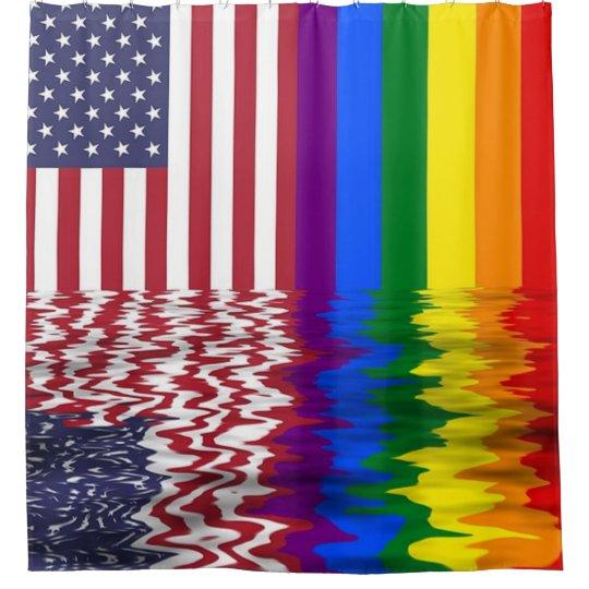 Rainbow American Flag LGBT Support Shower Curtain
