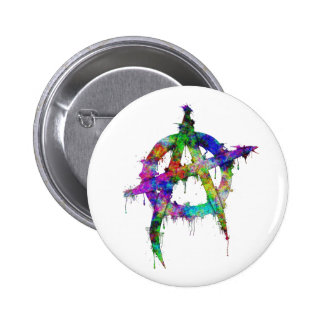 Rainbow Anarchy Symbol 6 Cm Round Badge