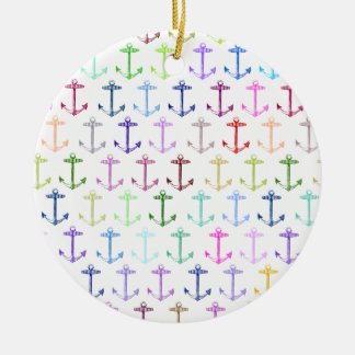 Rainbow anchor pattern round ceramic decoration