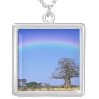 Rainbow and African baobab tree, Adansonia Square Pendant Necklace