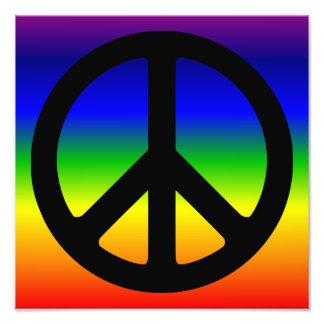 Rainbow and Black Peace Symbol Photo Print
