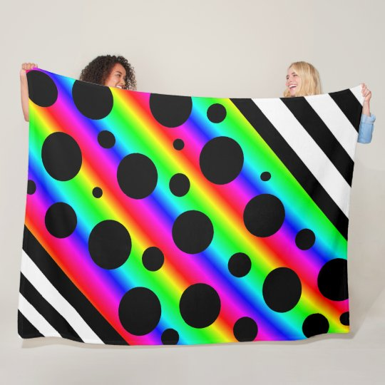 Rainbow and Black Polka Dots and Stripes Blanket