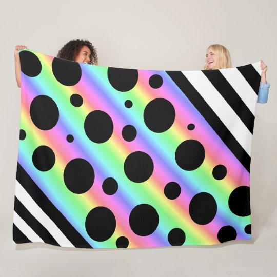 Rainbow and Black Polka Dots and Stripes Blanket