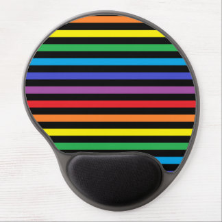 Rainbow and Black Stripes Gel Mousepad