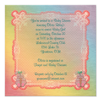 """Rainbow and Bunnies Baby Girl Shower 5.25"""" Square Invitation Card"""