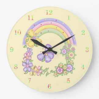 Rainbow and Butterflies Wall Clock