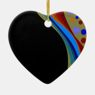 Rainbow and Circles Heart Shaped Ornament