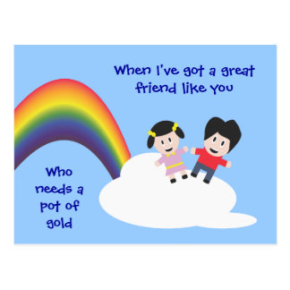 Rainbow and Clouds Friendship Postcard