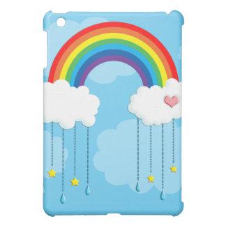 Rainbow and clouds raining stars iPad mini cover