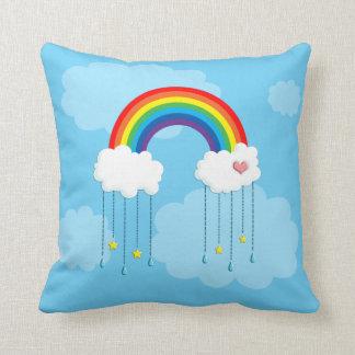 Rainbow and clouds raining stars throw cushion